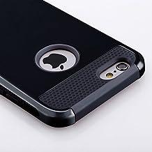 Funda iPhone 6S Plus  y Funda  iPhone 6 Plus(5.5 pulgadas),de plástico duro y de silicona Funda proctetora,de goma con dos cubiertas de oro para defensa militar Protector(negro)
