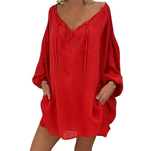 Oberteile Damen Sommer Oversized T-Shirt O-Neck Langarm Solide Leinen T-Shirt Lose Pullover Top Bluse Leinenbluse Damen Fledermausärmel Tunika Tops Einfarbig T-Shirt Casual Tee V-Ausschnitt -