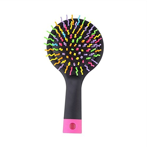 Foto de ivebetter elegante arco iris volumen antiestático Magic Hair Curl recto peine de masaje cepillo espejo–color: negro