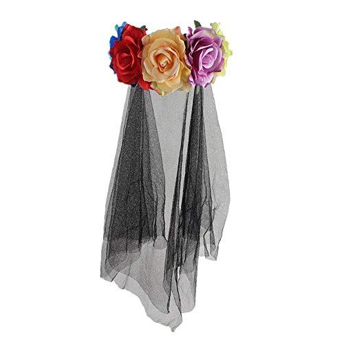 Halloween Kopfschmuck, Rose Stirnband Mit Schwarzes Netz Kopfschmuck Für Halloween Stirnband Hair Garland Ghost Braut Kopfschmuck