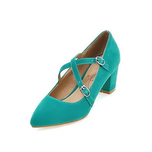 VogueZone009 Femme Pointu Boucle Suédé Couleur Unie à Talon Correct Chaussures Légeres Cyan