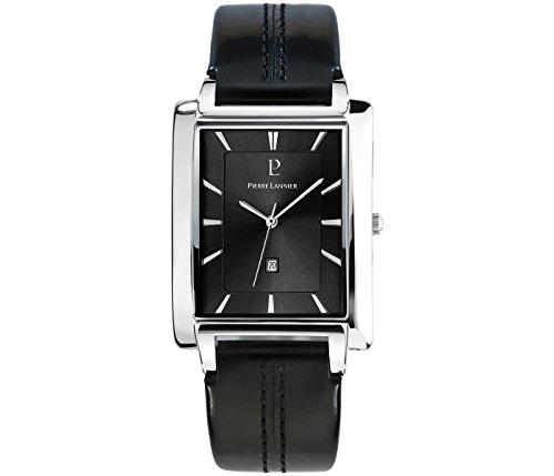 Pierre Lannier 210D133 - Reloj analógico de cuarzo para hombre con correa de piel, color negro