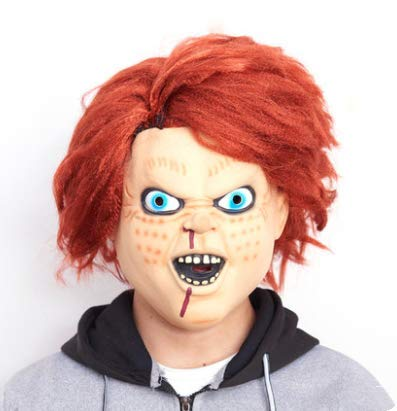 Doll Kostüm Scary Face - Halloween Mask Horror Kopfbedeckung Ghost Scary Face Masquerade Demon Death Doll