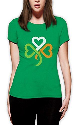 St. Patrick's Day Shamrock Kleeblatt Irland Farben Frauen T-Shirt Slim Fit Small Grün (St Patrick Tag T Shirts)