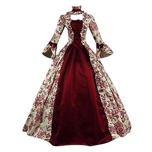 Kostüm China Princess - LILIHOT Mode Frauen Vintage Gothic Court Square Kragen Patchwork Bow Kleid Cosplay Fantasy Gothic Kopfbügel Kostüm Retro Party Princess Renaissance Kleider Rock