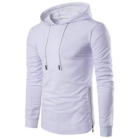 Babysbreath Hommes Sweats à Capuche Sweatshirt à capuche manches longues à manches longues et à manches longues blanc S