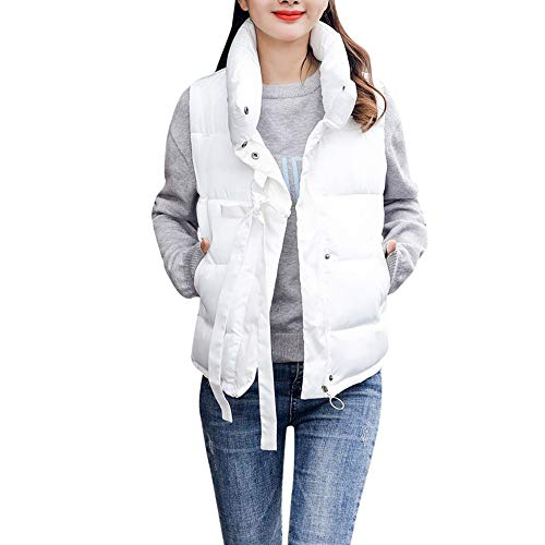 be49e5e90a1 MIRRAY Womens Girls Autumn Winter Warm Thick Solid Outerwear Casual Turtle  Collar Sleeveless Gilet Plus Size Loose Jacket Full Zipper Cotton-Padded ...