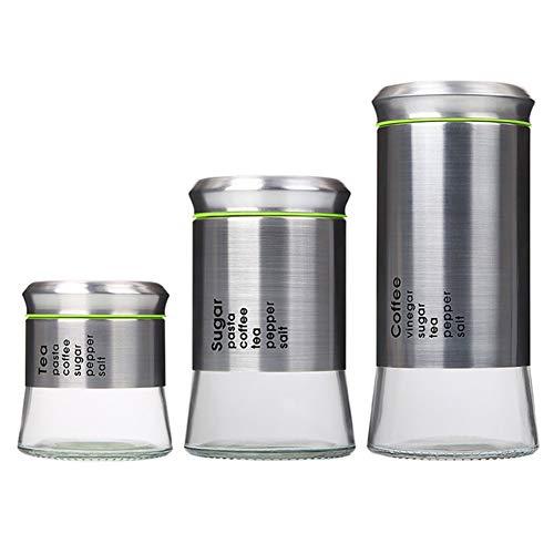 Cwg 3er-Set Aufbewahrungsgläser aus Edelstahl - Mehrzweck-Vorratsbehälter für Kaffee, Zucker, verschiedene Getreidesorten Snack, Tee, Süßigkeiten -
