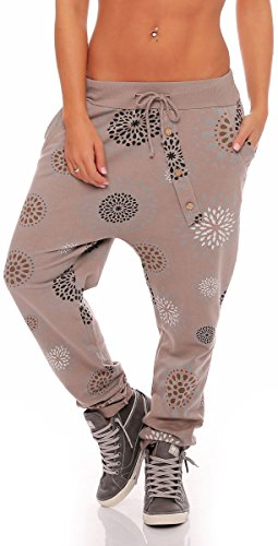 Malito Damen Jogginghose mit Knopfleiste   Sporthose mit Print   Baggy zum Tanzen   Sweatpants - Trainingshose 3381 (Fango)