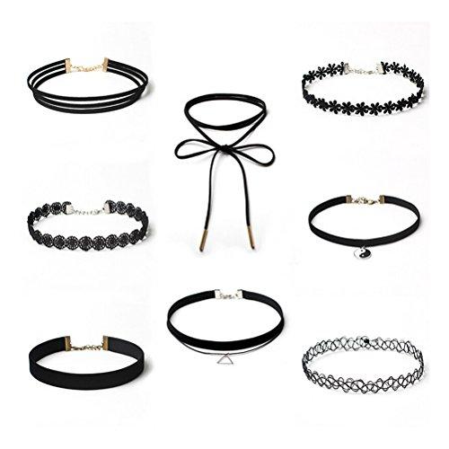 WINOMO 8pcs Collier dentelle pour filles gland gothique tatouage collier velours