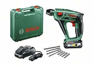 Bosch DIY Akku-Bohrhammer Uneo Maxx, Akku, Ladegerät, 2 x Betonbohrer, 2 x Universalbohrer, 4 Bits, Koffer (18 V, 2,5 Ah, Bohr-Ø 10 mm Beton, 8 mm Stahl)