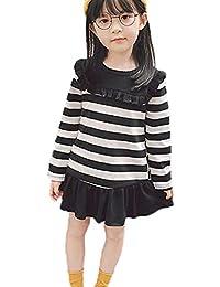 K-youth Vestidos para Niñas Ropa para Bebe Niña Invierno Fashion Rayas Plisada Vestido De Princesa Niña Vestido Bebe Niña Vestidos de Fiestas para Niñas Oferta