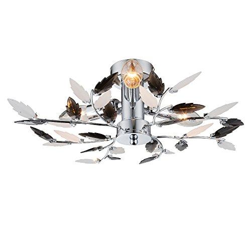 Deckenlampe 3 flammig Deckenleuchte Schlafzimmer Lampe schwarz weiß satinierte Blätter (Deckenlicht, Deckenstrahler, Wohnzimmer Leuchte, Flur, Chrom, 40 cm, Höhe 14,5 cm, Fassung 3 x E14) - Blatt-akzent-lampe