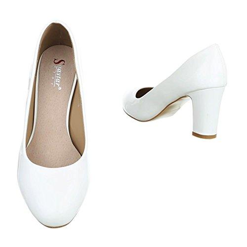 Klassische Damen Pumps Stilettos Abend Schuhe Party Hochzeit KAY Weiß