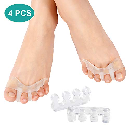 2 pares de dilatadores separadores de dedos para hombres y mujeres, separador de dedos de gel para hallux valgus, alivio del dolor de juanetes, uso en zapatos para correr, caminar y yoga