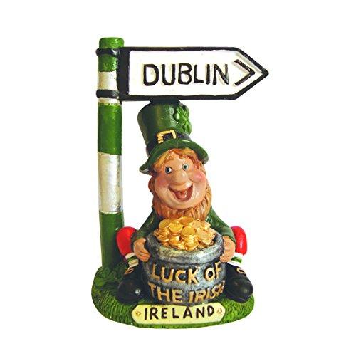 Kobold mit Topf voller Gold und Wegweiser nach Dublin, Dekostatue