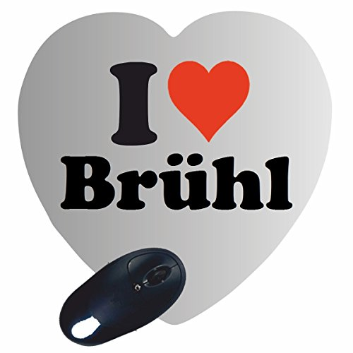 "Price comparison product image Exclusive Gift Idea: Heart Mouse Pad ""I Love Brühl"" a Great gift that comes from the heart - Non-slip mousepad- Christmas Gift"
