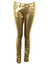 Ladies Bronze Gold Shiny Fitted Slim Fit Jeans Women/'s Trousers 6 8 10 12 14