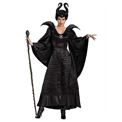 WSCOLL Plus Size Fairy Tale Sexy Black Sleeping Beauty Witch Queen Maleficent Costumes Adult Women Halloween Party Cosplay Fancy Dress S Black