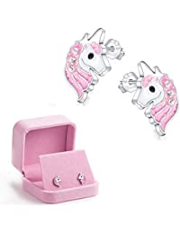 Unicorn Stud Earrings Light Pink Sparkling with Zircon for Little Girls Kids Jewelry Birthday Part
