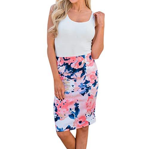 Damen Kleid Sommer ärmellose Rundhals Weste sexy Kleid Blumendruck Nähte Kleid Polyester lässig bequeme Minikleid (XL, Weiß) (Lässig Mädchen Blume Kleider)