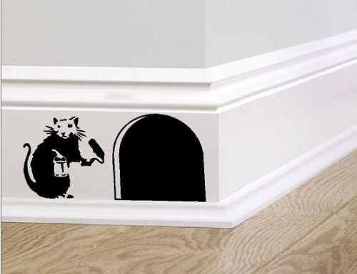 Banksy skirting board wall art bedroom living room lounge wall decal (Black, 20cm)