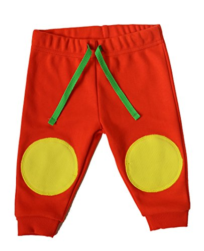 BABY CRAWLING TROUSERS for Girls and Boys. High Quality 100% Cotton,Interlock with Soft Double Knee Patches/Pads to Protect Little Knees. 6-12 months. Cherry Tomato.