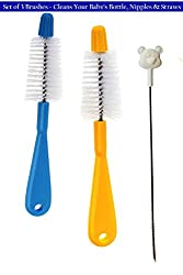 Straw and Nipple Brush Assembly - Set of 2 Nipple Brushes and 1 Straw Brush for Cleaning Baby-Bottles Nipple and Straw