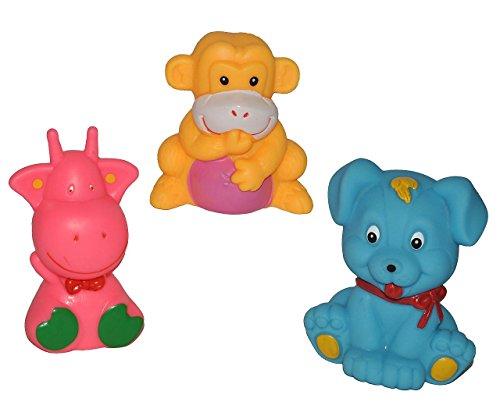 3 TLG. Set Quietscher als Tiere / Zootiere - für Baby ab 0 Monate - Quietschtier / Figur Quietschfigur Badefiguren / Badetiere - Quietsch / Badewanne - Quiets.. -