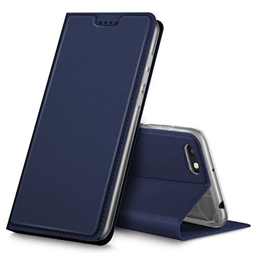 GeeMai Xiaomi Redmi 6A Hülle, Premium Xiaomi Redmi 6A Leder Hülle Flip Case Tasche Cover Hüllen mit Magnetverschluss [Standfunktion] Schutzhülle handyhüllen für Xiaomi Redmi 6A Smartphone, Blau