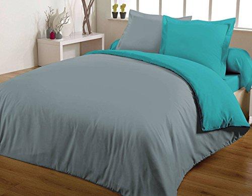 Maxi housse de couette bicolore 240X260 100% coton 57 fils Turquoise/Gris