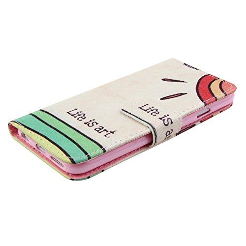 Ukayfe Custodia portafoglio / wallet / libro in pelle per Apple iphone 4/4S - Retro Fiore Modello Design Con Cinturino da Polso Magnetico Snap-on Book style Internamente Silicone TPU Custodie Case in  life is art