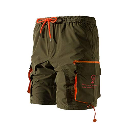Cargo Shorts Herren Chino Kurze Hose Sommer Bermuda Sport Jogging Training Stretch Shorts Fitness Vintage Regular Fit Sweatpants Baumwolle Qmber Reine Farbe Button Pocket Overalls Overalls(AG,M)