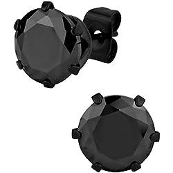 Pendientes grandes de acero inoxidable chapados en negro IP redondos de 5,5 ct negro CZ simulado diamante para hombres