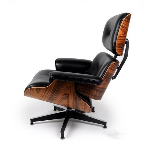 Charles Eames inspired Lounge Chair / Black Leather Light ...