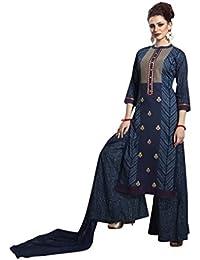 SEMI STITCHED Plazo Suits For Women Stitched, Rosaniya Semi Stitched Embroided Printed Cotton Straight Semi Stitched...