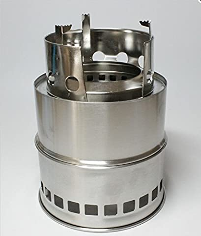 Shayson Stove Titan - Stove Largest Folding Wood Burning Version of Original Stove. Super-efficient Wood Burning Backpacking Stove. Great for Camping, Hiking, Survival, Emergency Preparation ight weight compact design for survival, camping, backpacking, emergency preparation with Solid Alcohol Tray