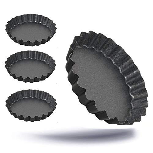 Kerafactum Antihaft beschichtete Auflaufform Törtchen für Profis PTFE 4 er Tortelett Tartelett Form kleine Törtchenform Tortenboden Backform im Ø 12 cm
