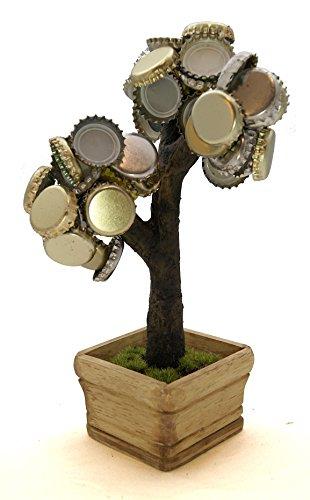 Deckel Bonsai – Magnetischer Kronkorkenbaum mit 3 Magneten/Perfekte Geschenkidee für Biertrinker/Partyspiel (Braun)