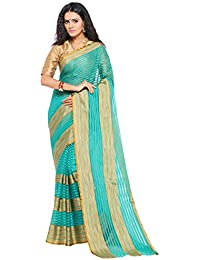 Sarvagny Women Clothing Cotton And Art Silk Rama Color Daily Wear Saree With Blouse Piece