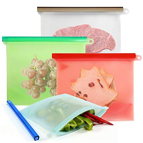 NEWSTYLE Riutilizzabile in Silicone Alimentare Storage Bag,Perdita Resistente conservazione degli Alimenti Contenitore per Frutta Verdura Carne frigoriferi e Utensili da Cucina