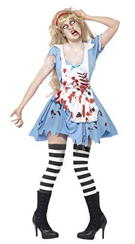 Kostüm Hutmacher Zombie - Smiffys, Damen Zombie-Malice Kostüm, Kleid mit Latex Brustteil, Schürze und Haarband, Größe: S, 40059