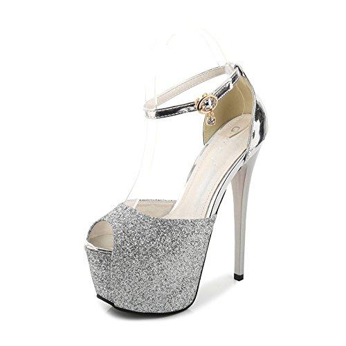 BBSLT Super Talons Hauts 15Cm Night - Club Fine Bouche De Poisson Les Talons Boucle Ceinture Chaussures Simple Dames De Chaussures.