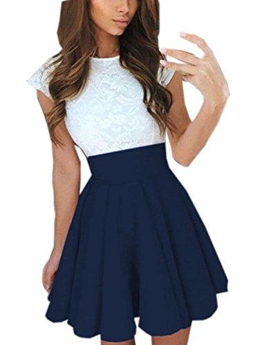 Frauen Reizvolle Minikleid Faltenkleid Einfarbig Spitze Spleißen Freizeitkleid Partykleid Ärmellos Slim Tunikakleid Sommerkleid (EU34, (Size Sexy Billig Kleider Plus)