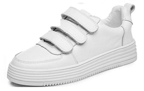 Wealsex Sneakers Basses Basket Mode Cuir Suédé Femme Blanc