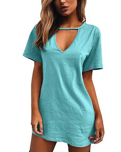 Chic Shirt Robe Été CourteVert ClairEu De Dress Chemise Mini Printemps 44 Yoins Femme T JT1lFKc