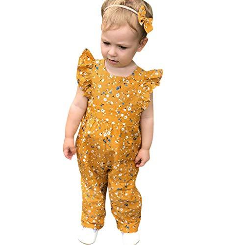 squarex Sommer Kleinkind Baby Mädchen Fliegen Ärmel Overall Blumendruck Strampler Kinder Fliegen Ärmel Overall + Stirnbänder Sets (Kleinkinder Fliege Für Ostern)