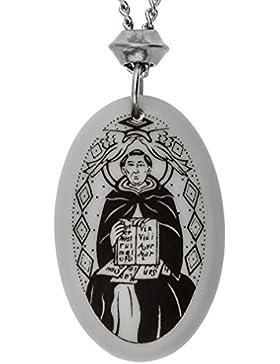 Handgemachte Saint Thomas Aquinas Oval geformt Porzellan Anhänger (mit der 22 Zoll Kette)