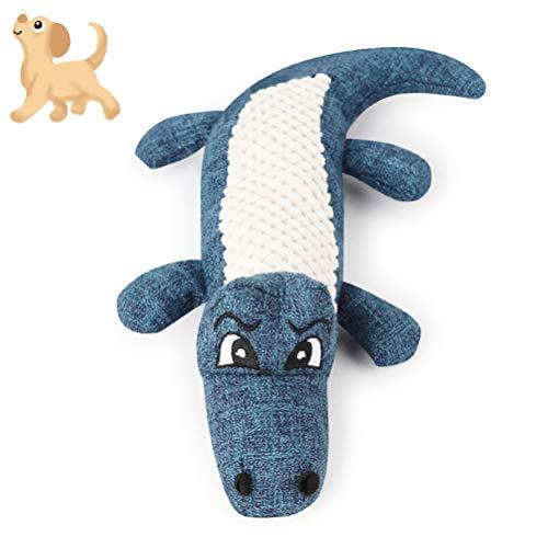 Ysoom Hund Quietschende Kauen Spielzeug Keine Füllung Hund Spielzeug Plüsch Tier Hundespielzeug für Kleine Medium Hund Länge 28cm, Hund Krokodil spielzeuge (Blue) - Keine Füllung-plüsch Hund Spielzeug