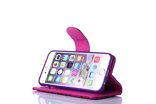 Pour iPhone 5C Cas, iNenk® PU Cuir téléphone Shell Grille Modèle Porte-monnaie Carte Supporter Phone Cas Retro Mode Créatif Couverture Protecteur Manche Pour Femmes-Rose rouge Rose rouge